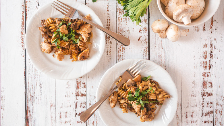 two plates of chicken casserole