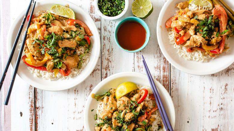 three plates of Panang curry