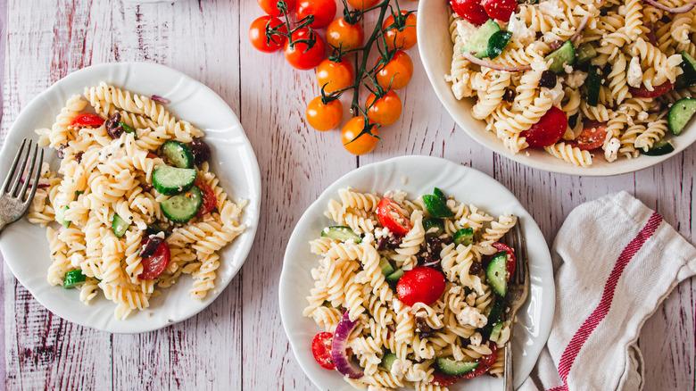 plates of mediterranean pasta salad