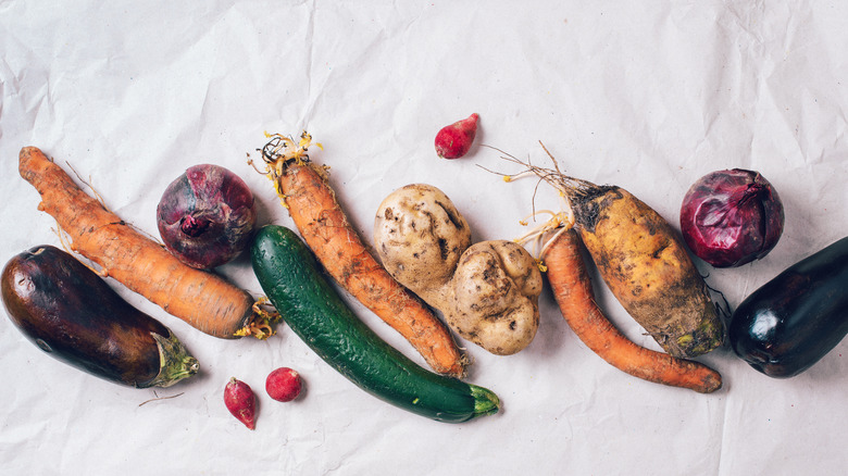 Rotten and misshapen vegetables
