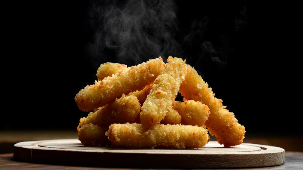 steaming mozzarella sticks