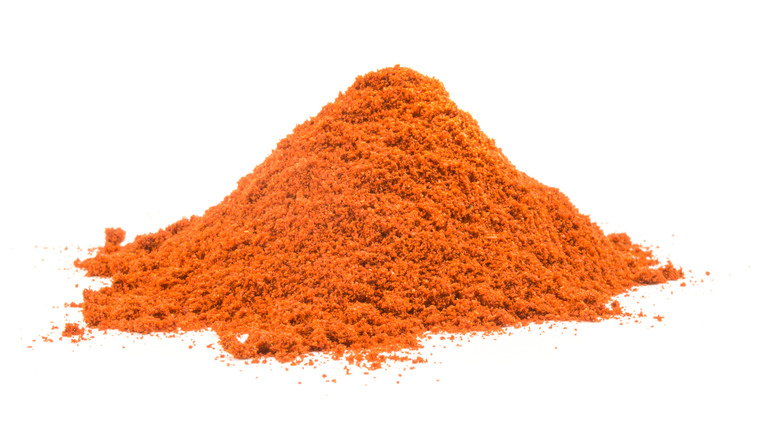 Cayenne pepper spice on white background