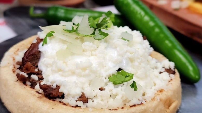 Tortilla bowl with cotija cheese