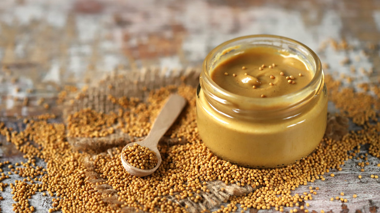 A jar of Dijon mustard