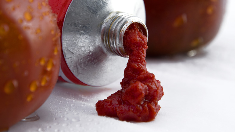Tomato paste coming out of a tube