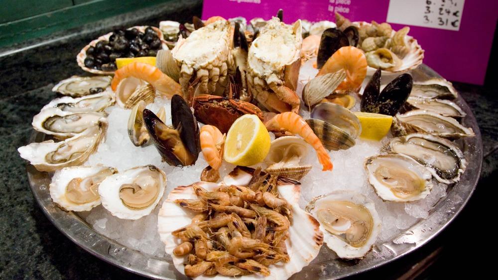 Raw seafood platter at restaurant