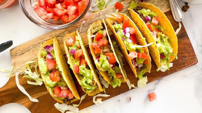 lentil tacos on cutting board