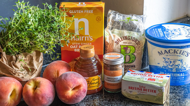 ingredients for peach crumble