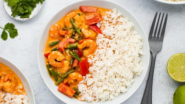 Thai curry in a bowl