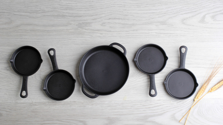 a selection of cast-iron cookware