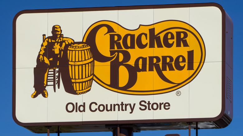 A sign for Cracker Barrel