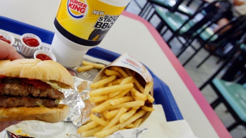 Burger King burger, soda, and fries