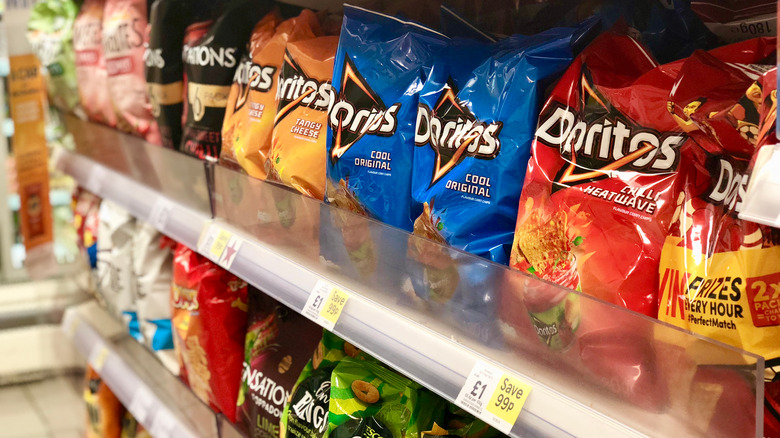 Chip aisle with Doritos at the grocery store