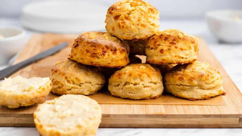 cheese biscuits on wooden board