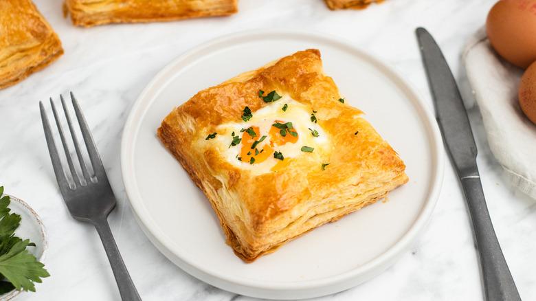 breakfast puff on plate