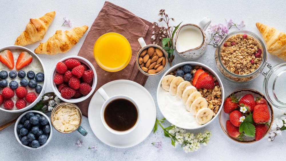 Display of many breakfast foods