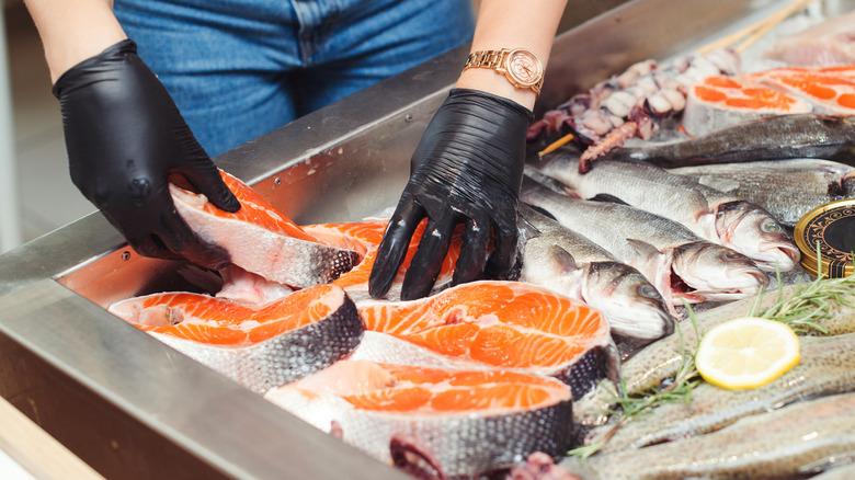 Fresh seafood counter at supermarket