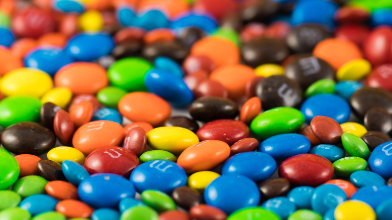 A pile of classic Milk Chocolate M&Ms