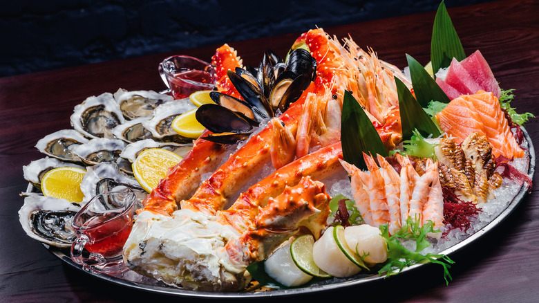 Plate of seafood with lobster and crab