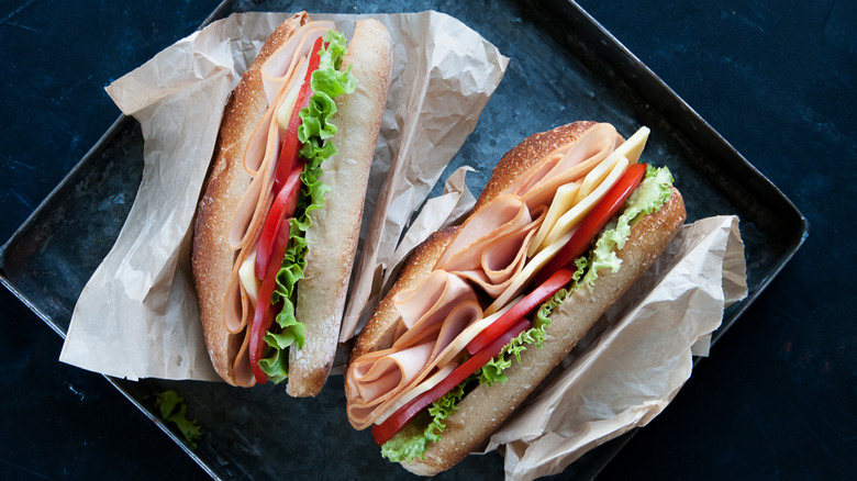 Tray holding two turkey subs