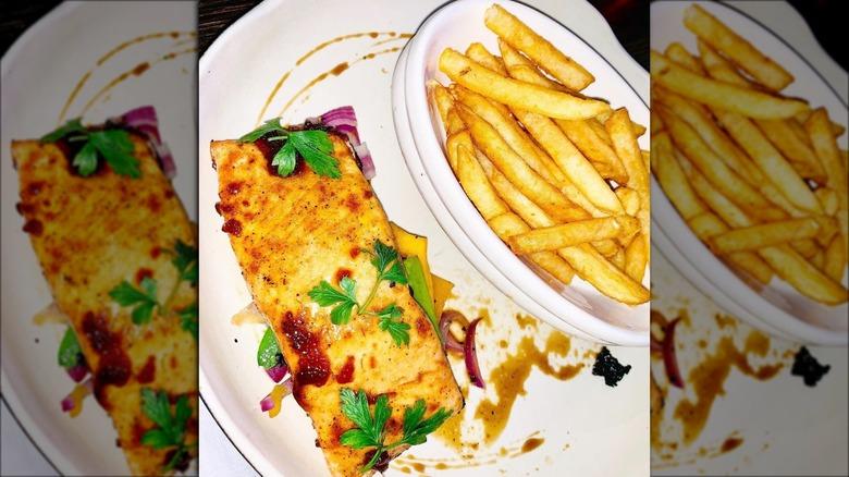 TGI Fridays salmon with fries