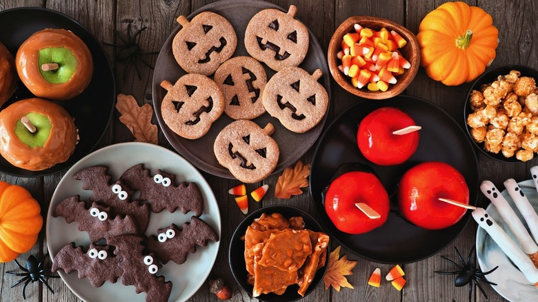 Halloween cookies, apples, and treats