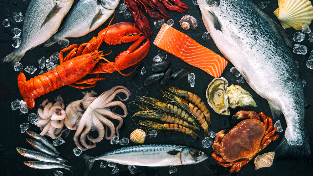 seafood spread black background