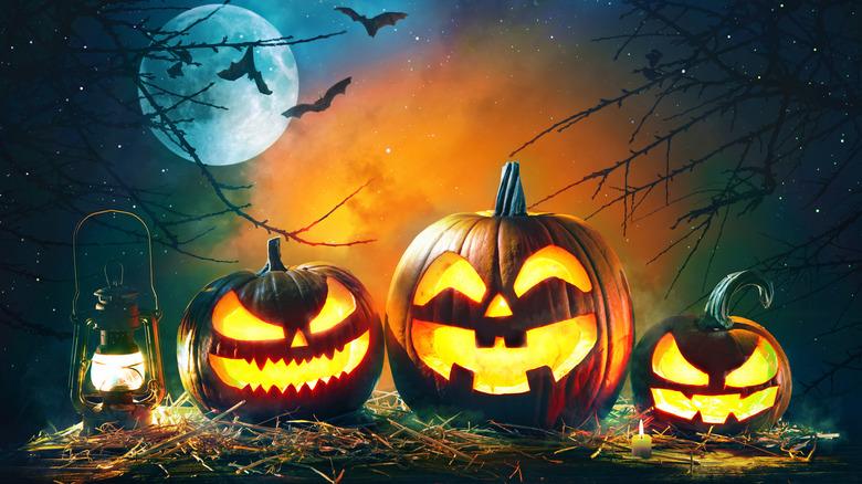 Pumpkins moon bats spooky setting