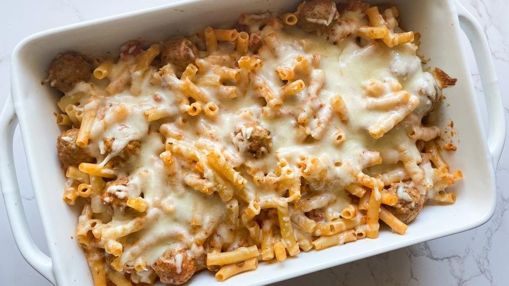 5-ingredient meatball pasta bake served