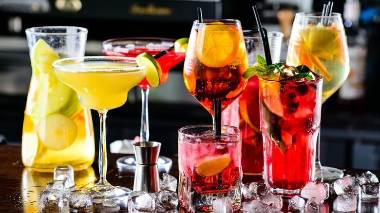 Assorted cocktails on bar