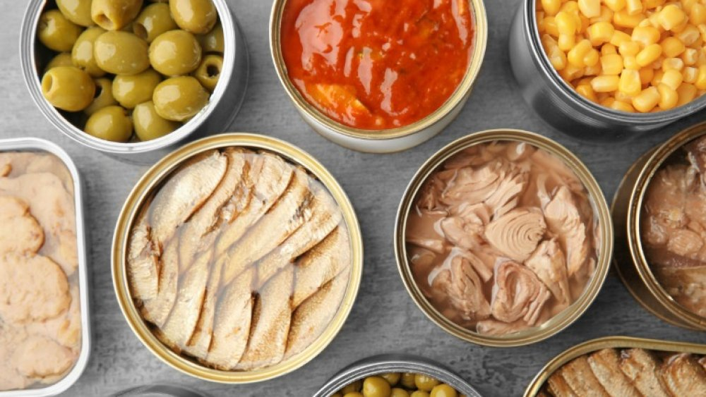Selection of canned food