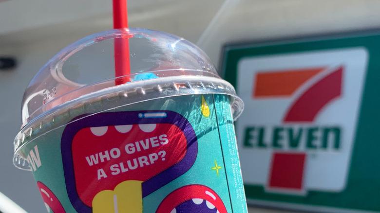 Closeup of Slurpee cup at 7-Eleven