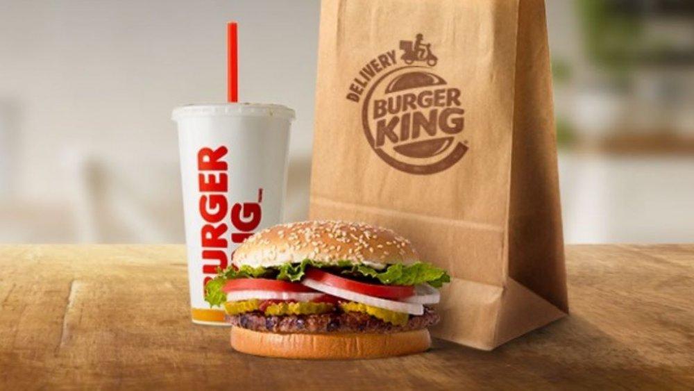 Burger King burger and drink, sans reusable packaging