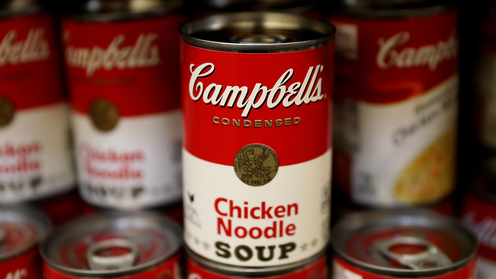 Campbell's condensed chicken noodle soup cans