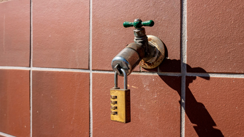 Locked water valve