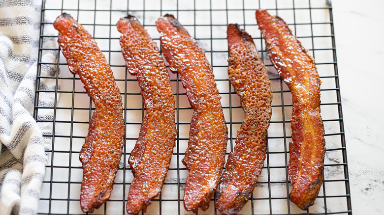 candied bacon on rack