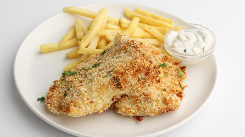 Air fryer crispy cod with french fries