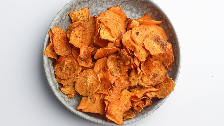 sweet potato chips on plate