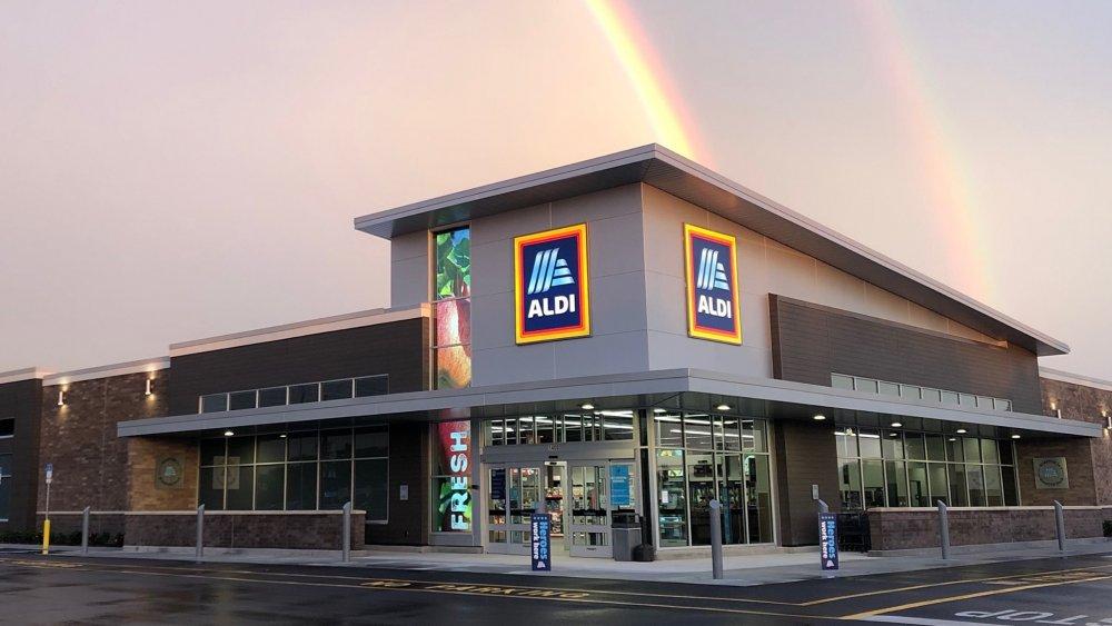 Aldi storefront with rainbow