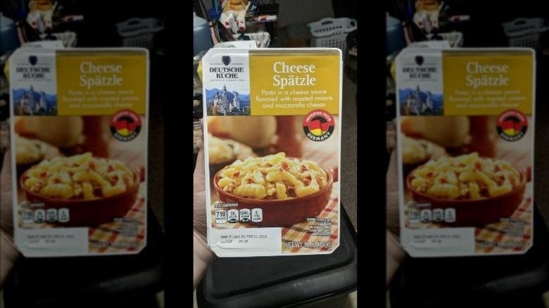 A box of Aldi's cheese spatzle