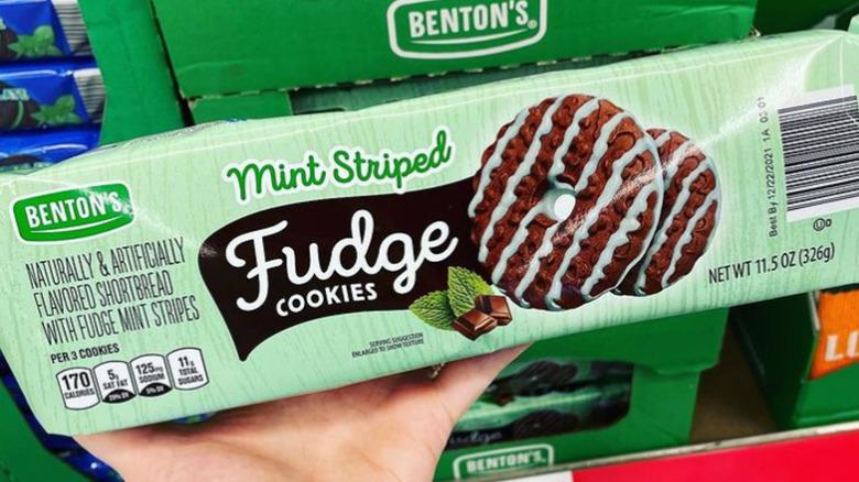 Package of Benton's mint-striped fudge cookies at Aldi