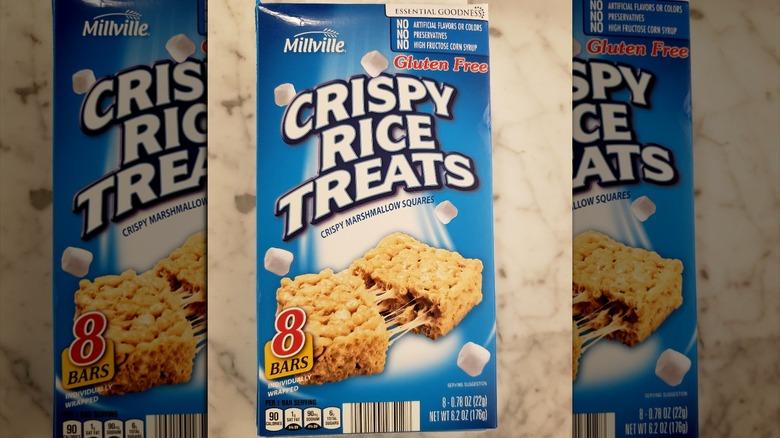 Box of Millville crispy rice treats