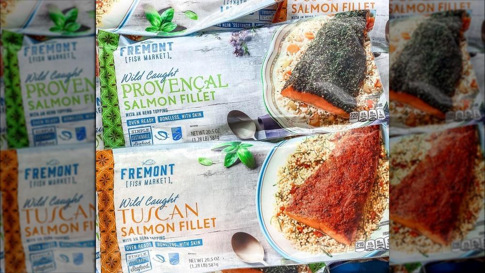 Bags of Aldi frozen salmon fillets