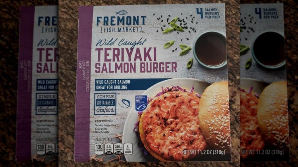 Box of Aldi's Fremont teriyaki salmon burgers