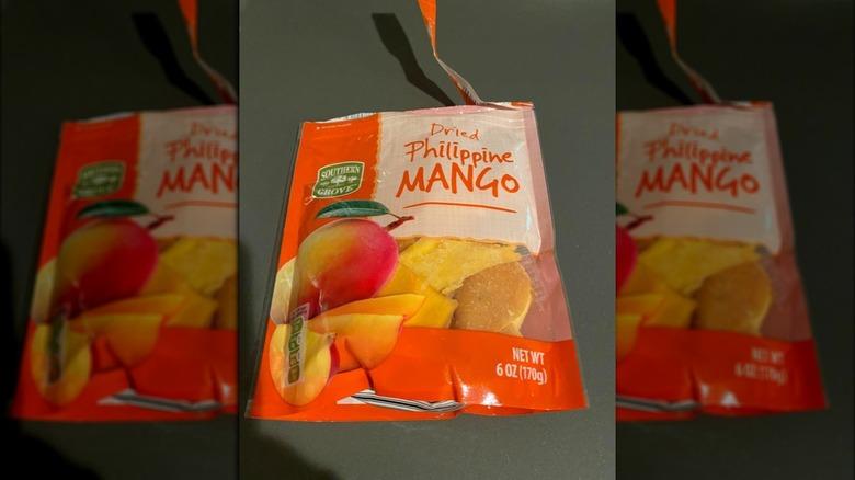 A bag of Aldi's new dried mangos