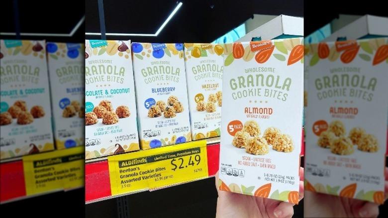 A hand holding Aldi's new granola cookies