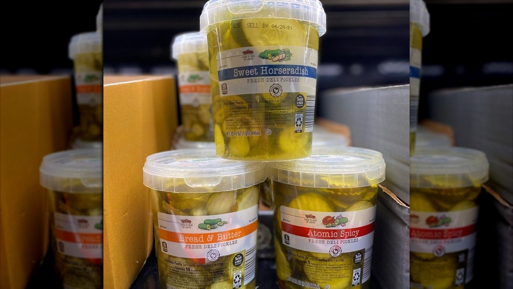 Tubs of Aldi's spicy pickles