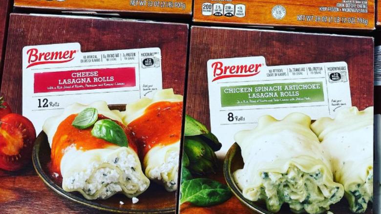 Aldi's frozen cheese and chicken spinach artichoke lasagna rolls