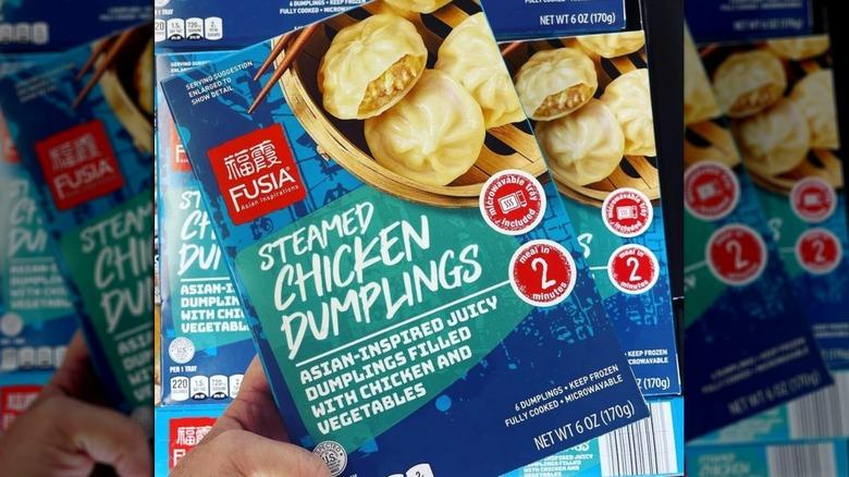 Box of frozen chicken dumplings