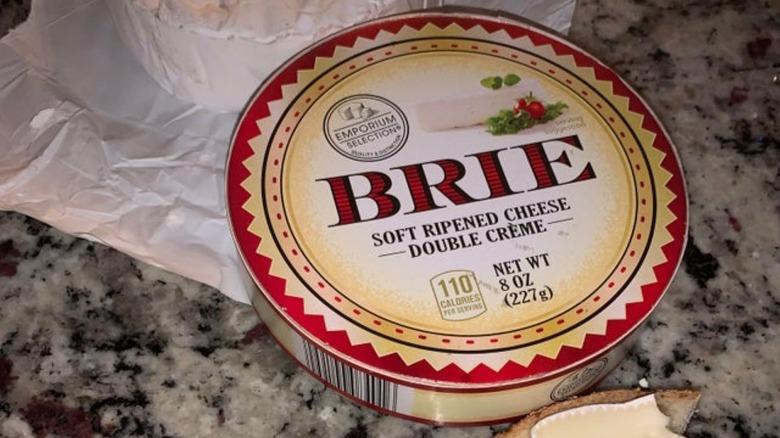 Aldi's Brie on a gray counter